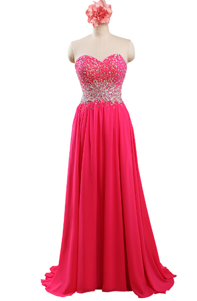 2015 Sweetheart Long Chiffon Sleeveless Prom Dress Evening Gowns Vestido Para Festa For Plus Size Women