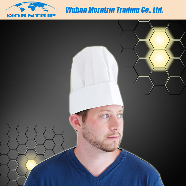 disposable chef hat non woven and paper material with white color