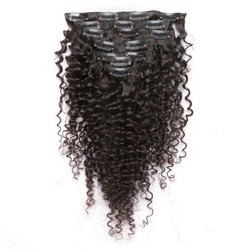 Brazilian virgin human hair 100g 7 pieces set natural black afro kinky curly clip in human hair extensions for black women 8-32""