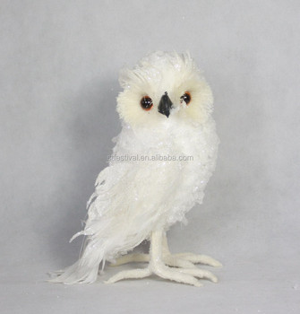 2015 artificial white feather owl christmas decoration