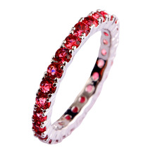 WY 2016 Women New Fashion Party Jewelry Elegant Red Ruby Spinel Silver Ring Size 6 7