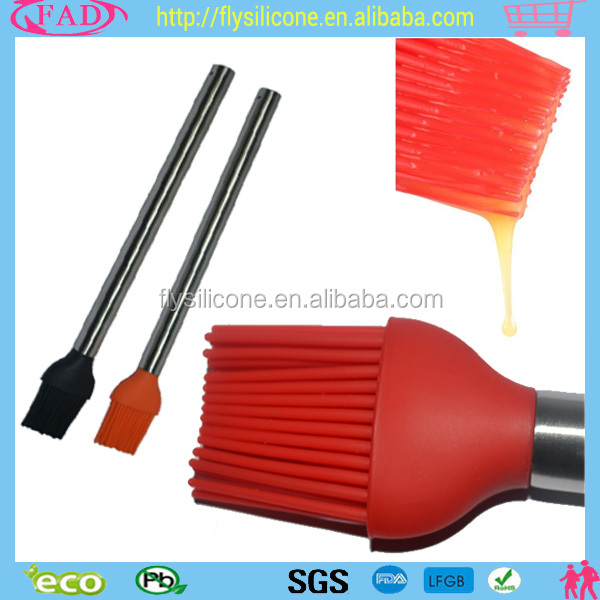 High Quality Heat Resistant Silicone Kitchen Cooking BBQ Oil Sauce Bristle Basting Brush With Stainless Steel Handle