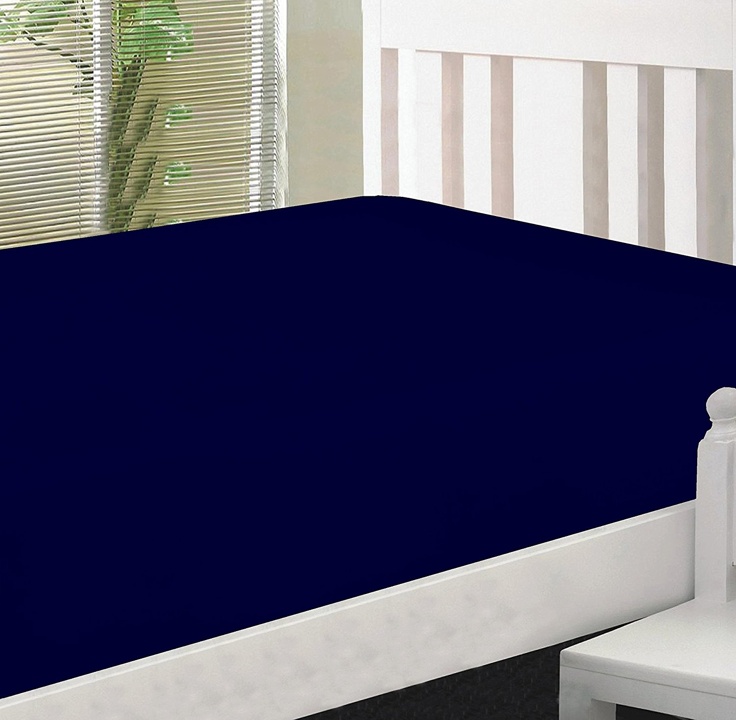 Crescent Bedding Twin Extra Long nAVY bLUE Micro Fiber Fitted sheet - Soft and Comfy - By Navy Blue Twin XL