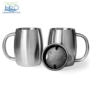 Stainless Steel 14Oz Double Wall Insulated beer cup 420ml Coffee Tea Beer mug Set of 2 with Bonus Lids 14oz travel tumbler