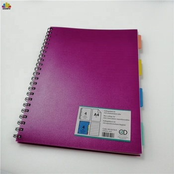 A4 A5 Subject Notebook 4 Part Project Book Custom Sprial Purple Exercise Book