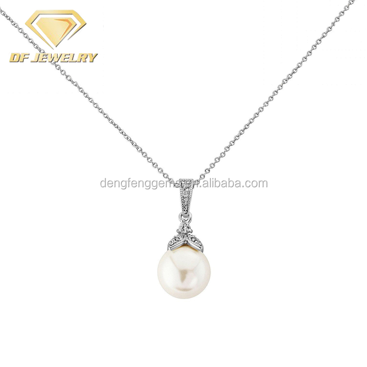 Wedding Pendant Crystal Pearl Necklace And Earrings Jewelry Set