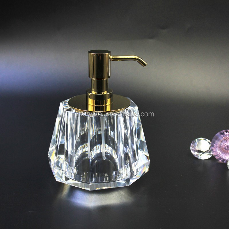 2016 New style hand making hand washing clear k9 crystal bottle soap dispenser