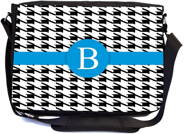"Rikki Knight® Letter ""B"" Lime Green Houndstooth Monogram - SuperStrong Messenger Bag - School Bag - with padded pockets for Laptops & Tablets up to 14.5"" Idea for School or College (UKBK Design)"