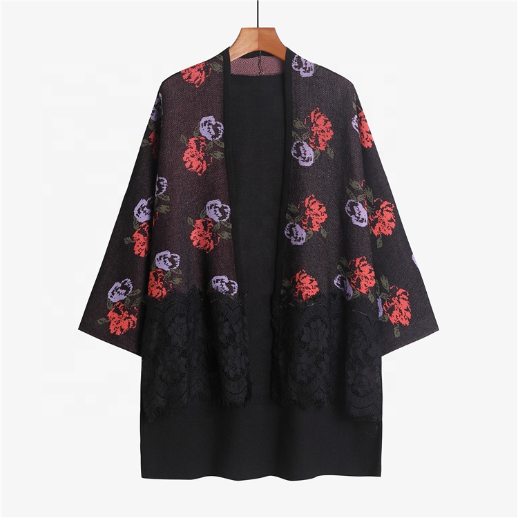 New Design Autumn Wholesale Flat Knit Shaver Lace Trim Flower Pattern Sweater Cardigan
