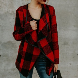 Wholesale Women Turn-down Collar Buffalo Plaid Woolen Coat