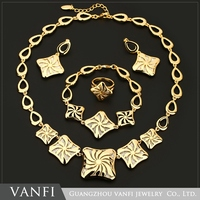 Fashion Womens flower Dull Polish 18K Gold Plated Stainless Steel Pendant Necklace Earrings Cheap Jewelry Set