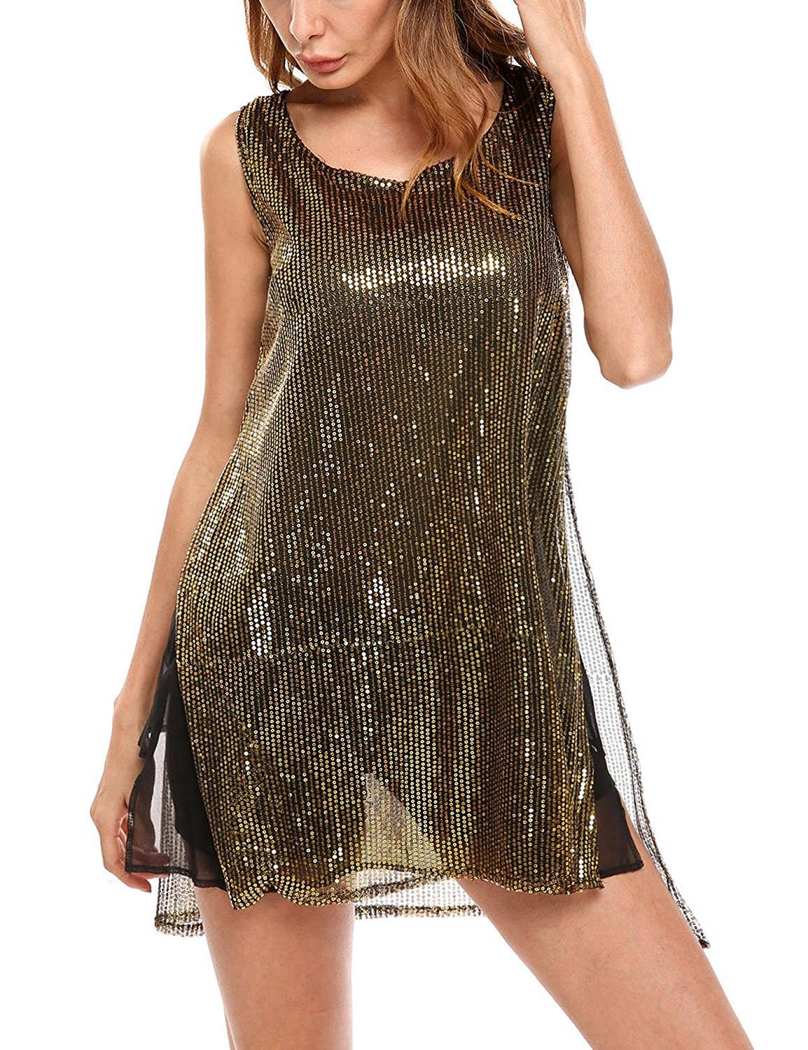 8f9ef956 Get Quotations · ELESOL Womens Sleeveless Sparkly Sequin Tunic Tops Sexy  Glitter Party Mini Dress