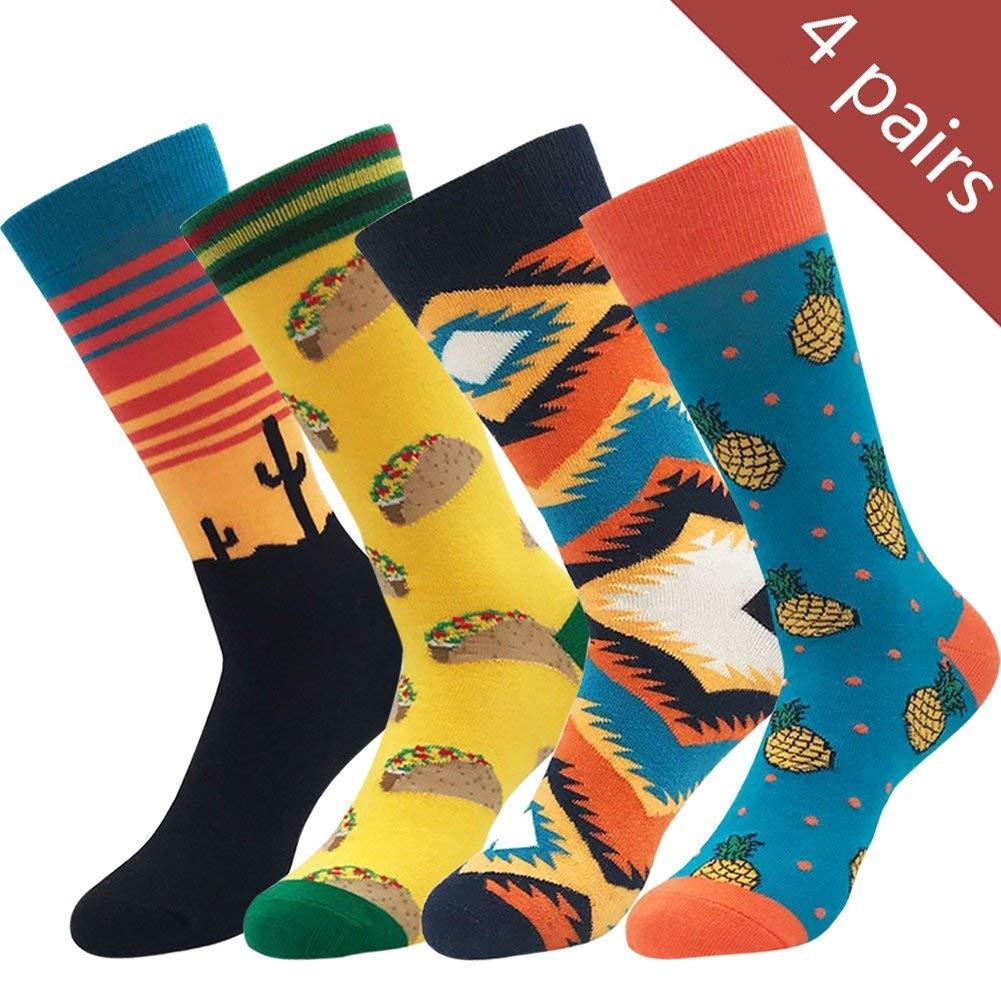 14fa77f8f0d Get Quotations · Yijiujiuer Men s Crazy Socks Women s Funny Cool Dress Socks  Funky Design Combed Cotton Socks
