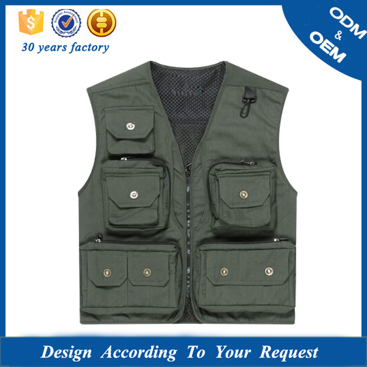 Multi Pocket Sleeveless Photographer Vest Jacket
