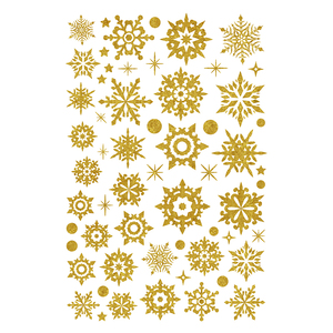 Shining Golden Snowflake Wall Vinyl Glitter Window Decoration Sticker