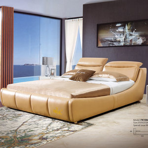 Orange double beds modern royal genuine leather bed with bedside table