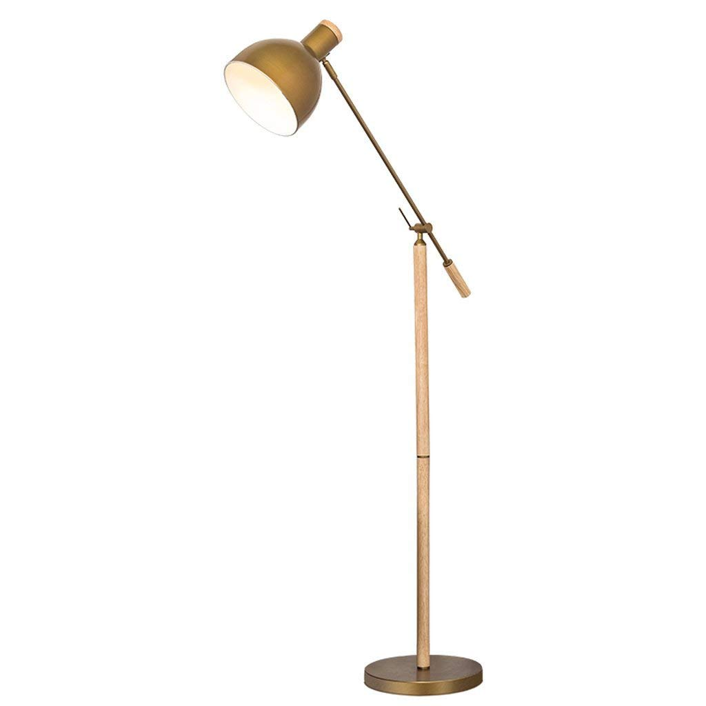 European Modern Style Adjustable Floor Lamp, Iron Lampshade, Living Room Study Bedroom Creative Floor Light, Reading Vertical Floor Lamp, Wooden Lamp, Iron Lamp, E27 (Color : Brass)