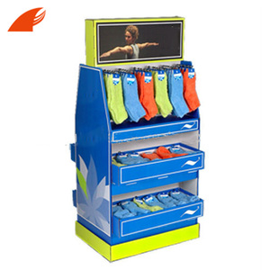 Two Sides High Quality Cardboard Pallet Socks Display Stand With Hooks For Store
