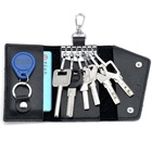 Genuine Leather Key Chain Holder Men Women Key Wallet Organizer Pouch Cow Split Car Key Bag Wallet Housekeeper With Card Pocket