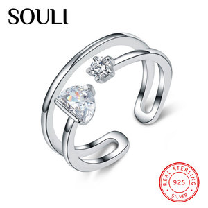 Silver Accessory Wholesale Free Size Open Ring Tiny Zircon 925 Sterling Silver Double Ring