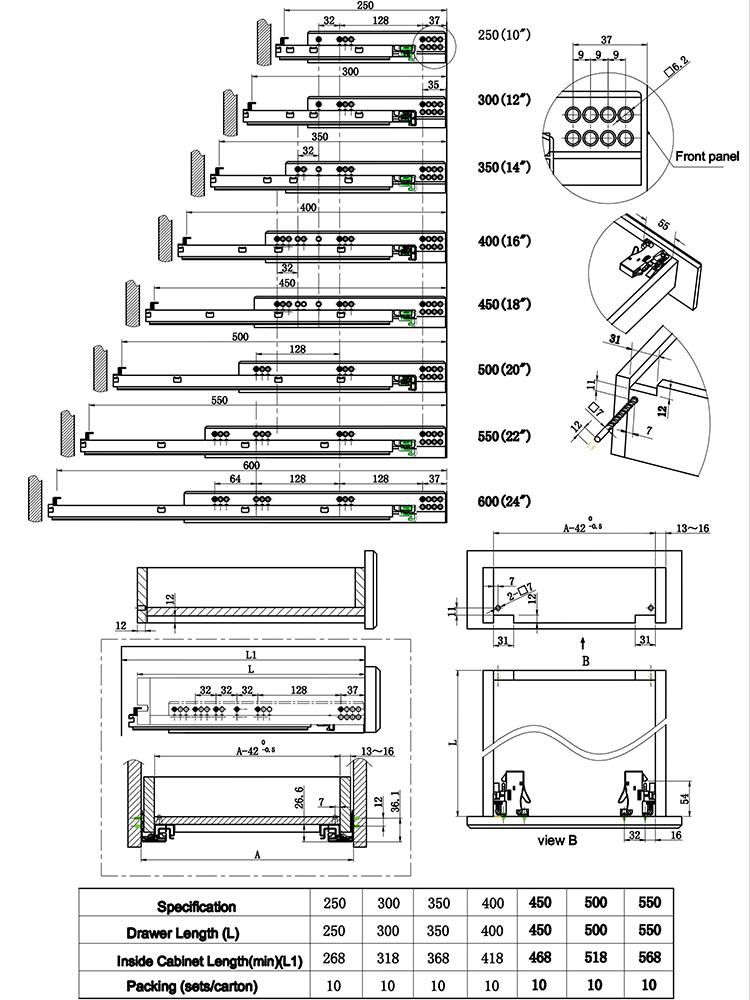 Vollauszug absenkautomatik versteckte schublade rutsche mit einstellung schrauben