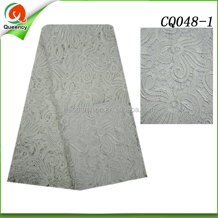 White color Cotton guipure lace embroidery african lace fabrics