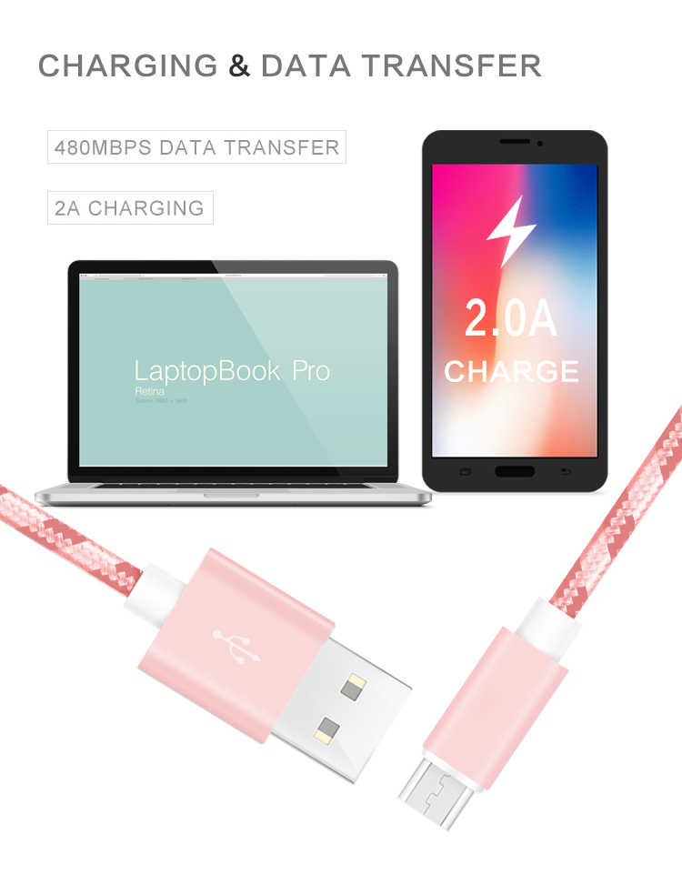 XYZ link 1 m/3FT Rose Gold Nylon USB Data Sync Oplaadkabel voor Android