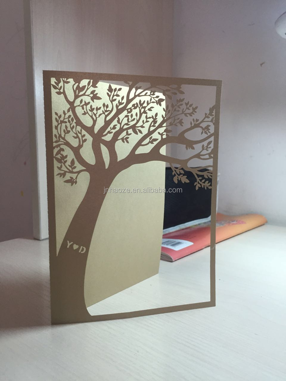 Unique Tree Design 250g Pearl Paper Custom Letters Wedding Invites ...