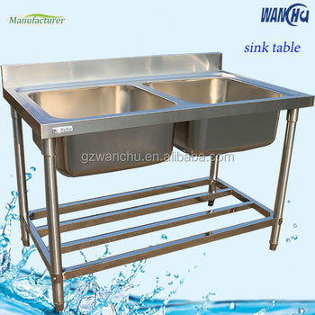Unique stainless steel restaurant sink working tablekitchen unique stainless steel restaurant sink working tablekitchen utensils double sink work table for industrial watchthetrailerfo