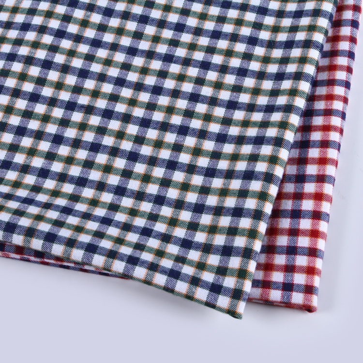 Stocklot polyester plain brushed poly blend glen check shirt <strong>fabric</strong> in china