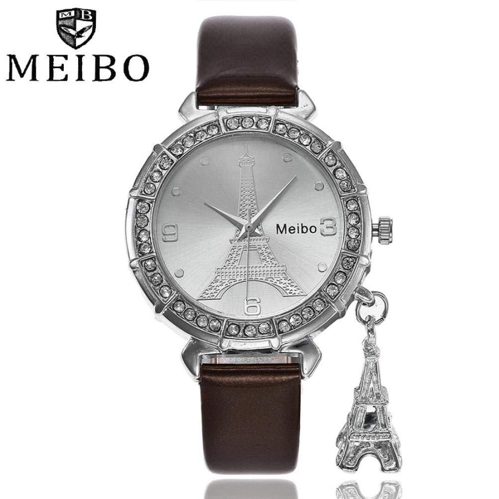 Sunward Watches for Women,Classic Quartz Analog with The Eiffel Tower rhinestone pendant,Great Anniversary Gift