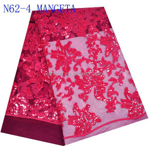 N62-4 mangeta High quality sequins white color embroidered net lace/french lace fabric for making wedding dress or cloth