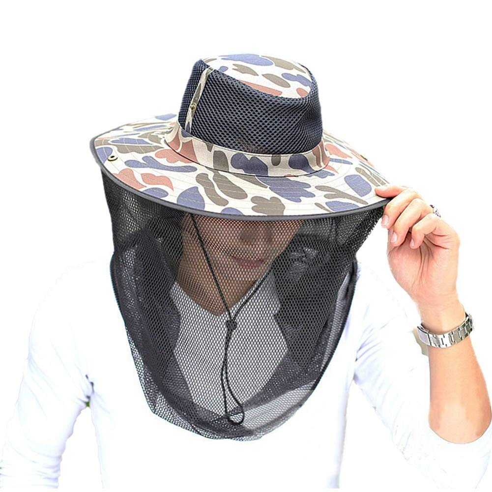dc6e42ad7f31a Get Quotations · CHUANGLI Mosquito Head Net Sun Hat Bucket Hat Fisherman Hat  Summer Sun Protection Hunting Cap Beekeeping