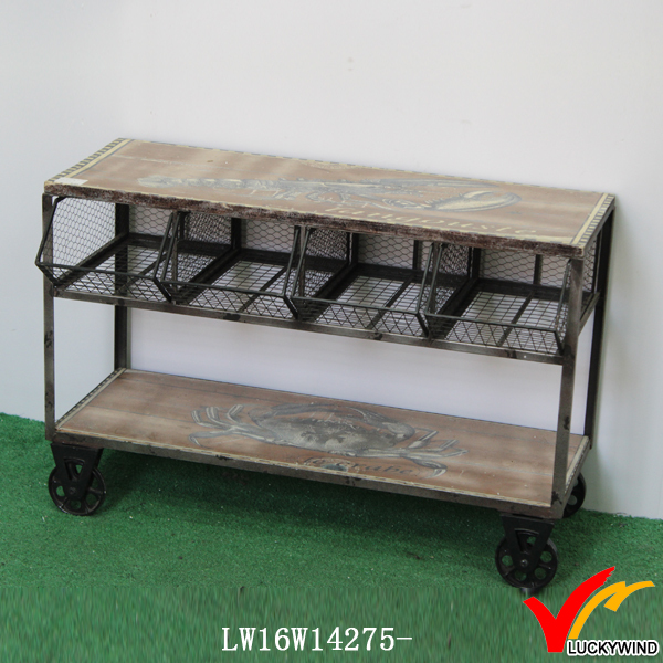 Wire Storage Vintage Wooden Panel Top Coffee Table Tea Wheels Tables With Product On