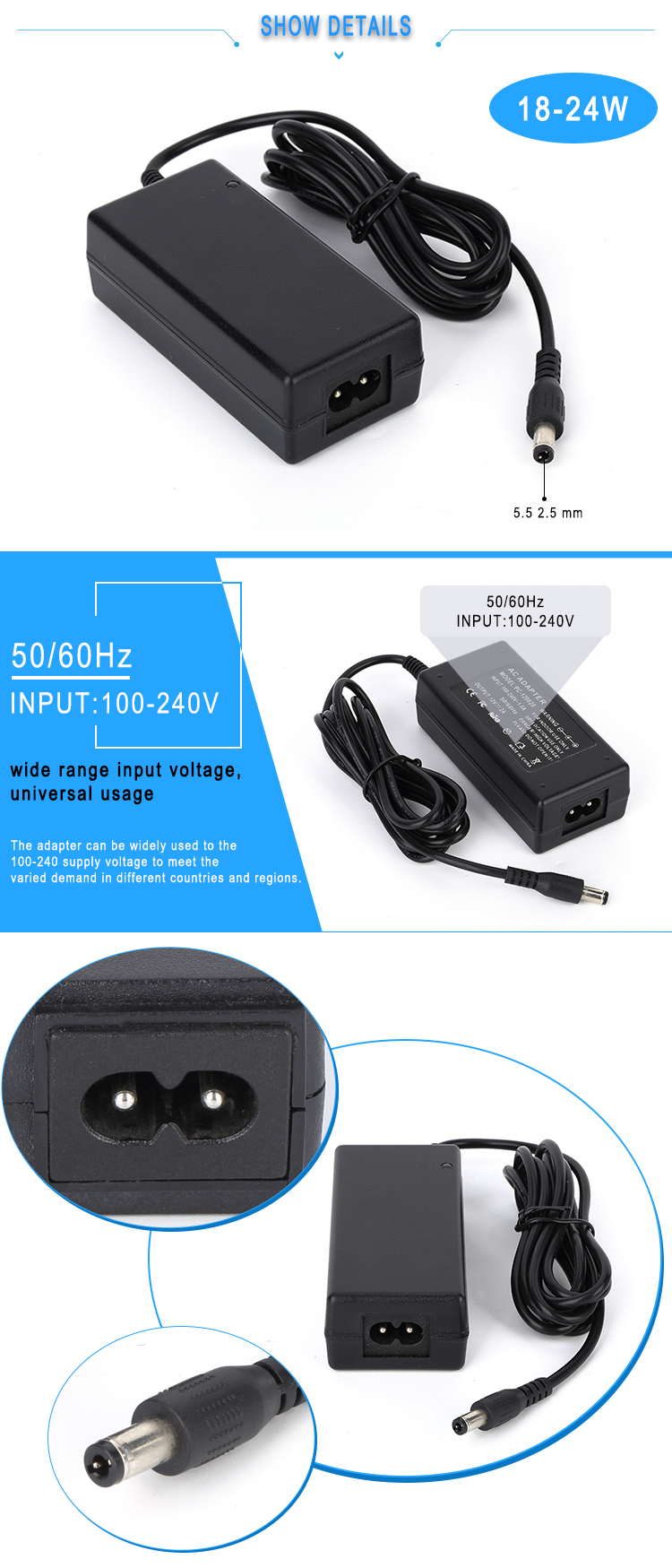 12V 2A Power Adapter 12Volt AC DC Charger With CE ROHS FCC
