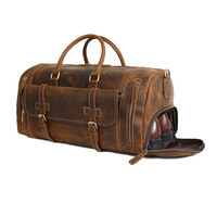 Top Quality Vintage Brown Leather Duffle Bag with Shoes Compartment Travel Bag