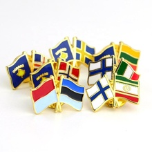 Keine Mindest Individuelles Oem Made Metall Gekreuzte Zwei Land Nationalen Gold Doppel Flagge Revers Abzeichen Pin <span class=keywords><strong>Emaille</strong></span> Farbe