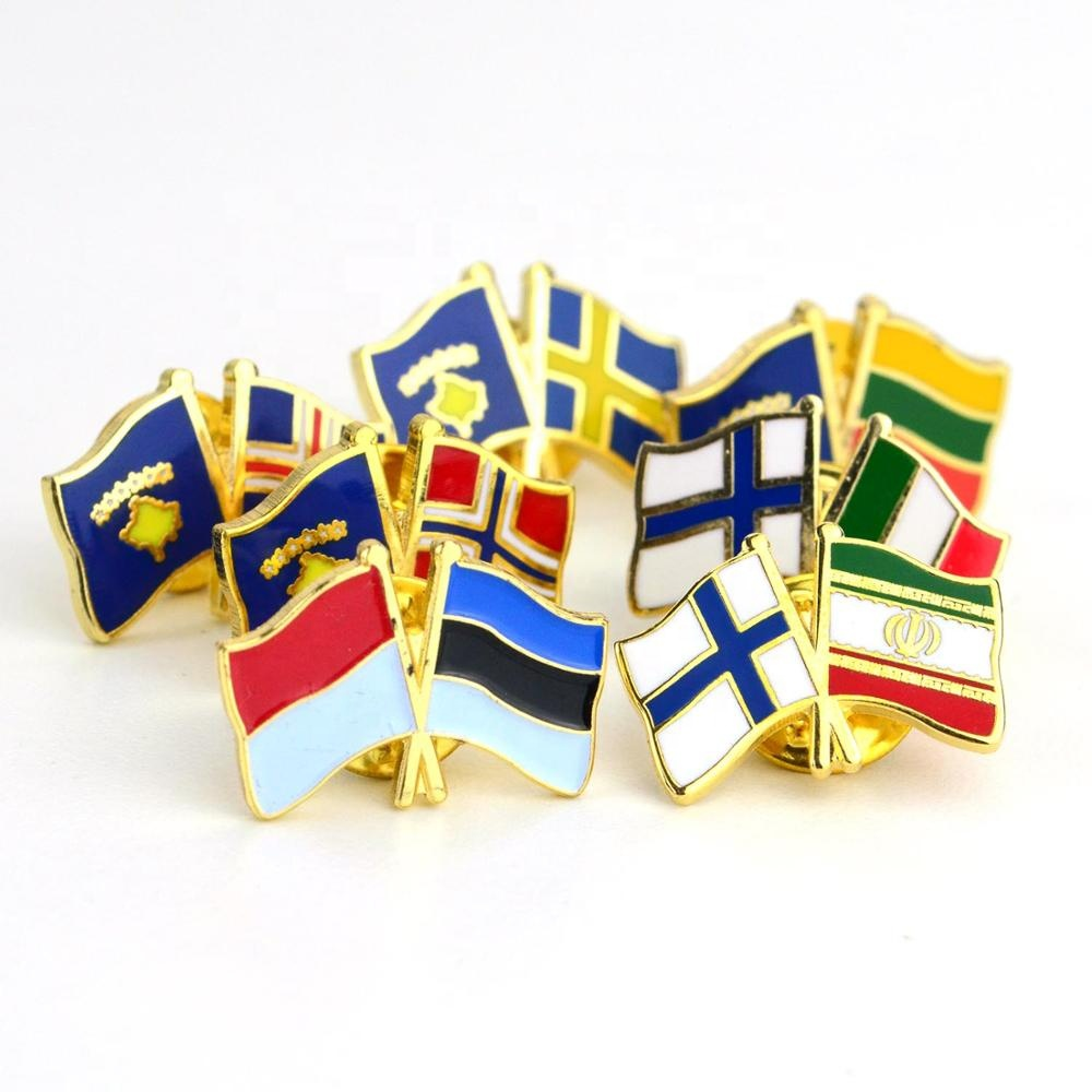 No Minimum Custom Oem Made Metal Crossed Two Country National Gold Double Flag Lapel Badge Pin Enamel Color