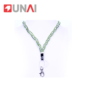 Beautiful bling crystal custom rhinestone lanyard add crystal green with hook