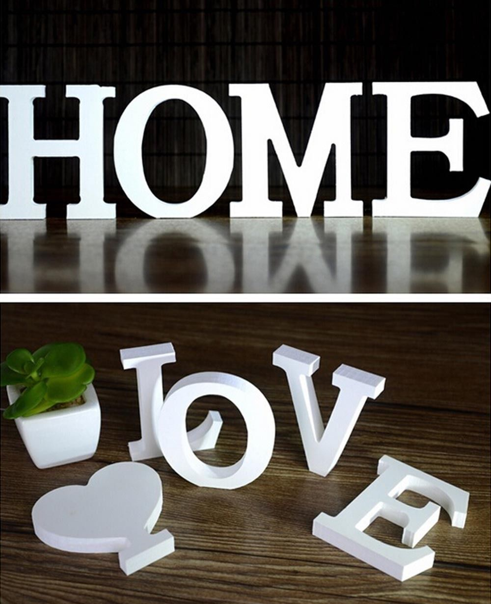 Home Decor Decoration Thick Wood Wooden White Letters