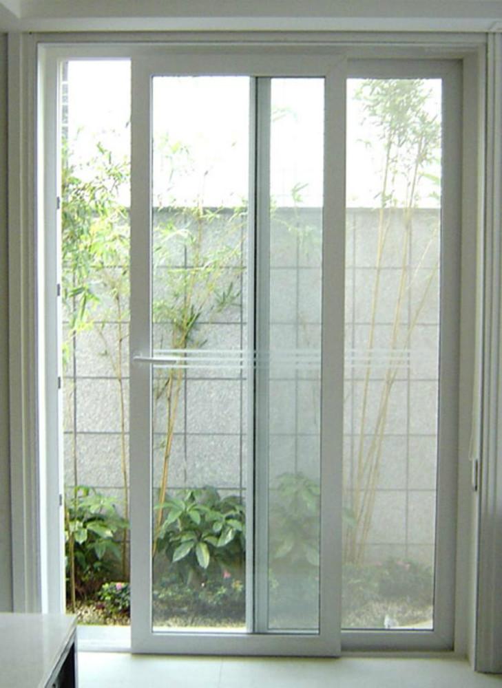 New pvc blanco marco balc n puerta corredera de cristal for Puertas de pvc para exterior precios