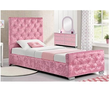 pink or silver grey Crushed Velvet Fabric Single Storage Bed Frame