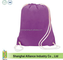 Polyester travel backpack White Handles Drawstring Gym Bag