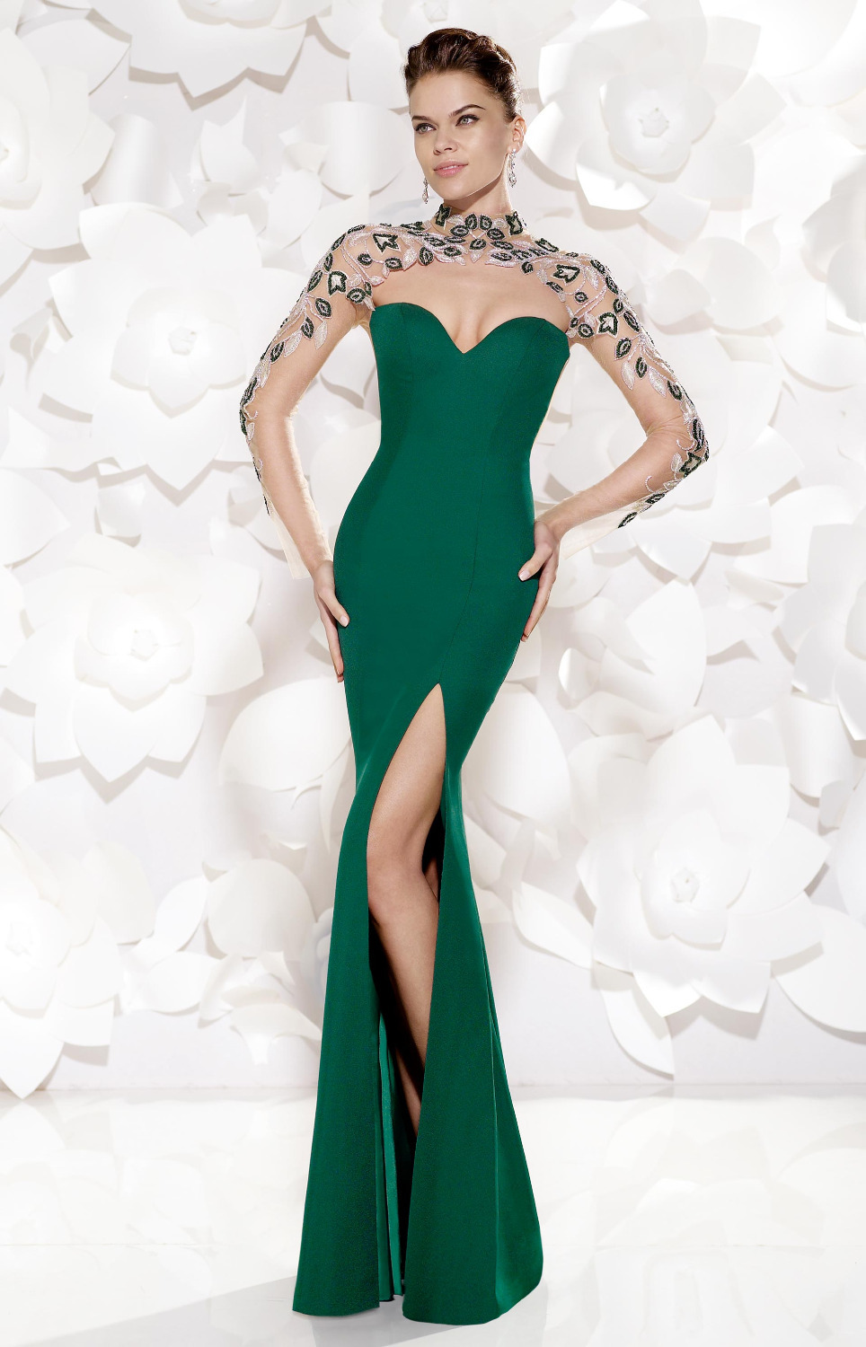 Get Quotations · High Slit Evening Dresses 2015 Embroidery Elegant Long  Sleeve Mermaid Evening Dress Emerald Green Party Gowns 9cb1ac6ce668