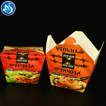 Double PE coated fast food paper noodle box  16/22/26/32oz food box packaging