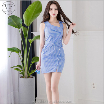 bae122af89 2018 new Article blue check women clothes of large size casual summer dress