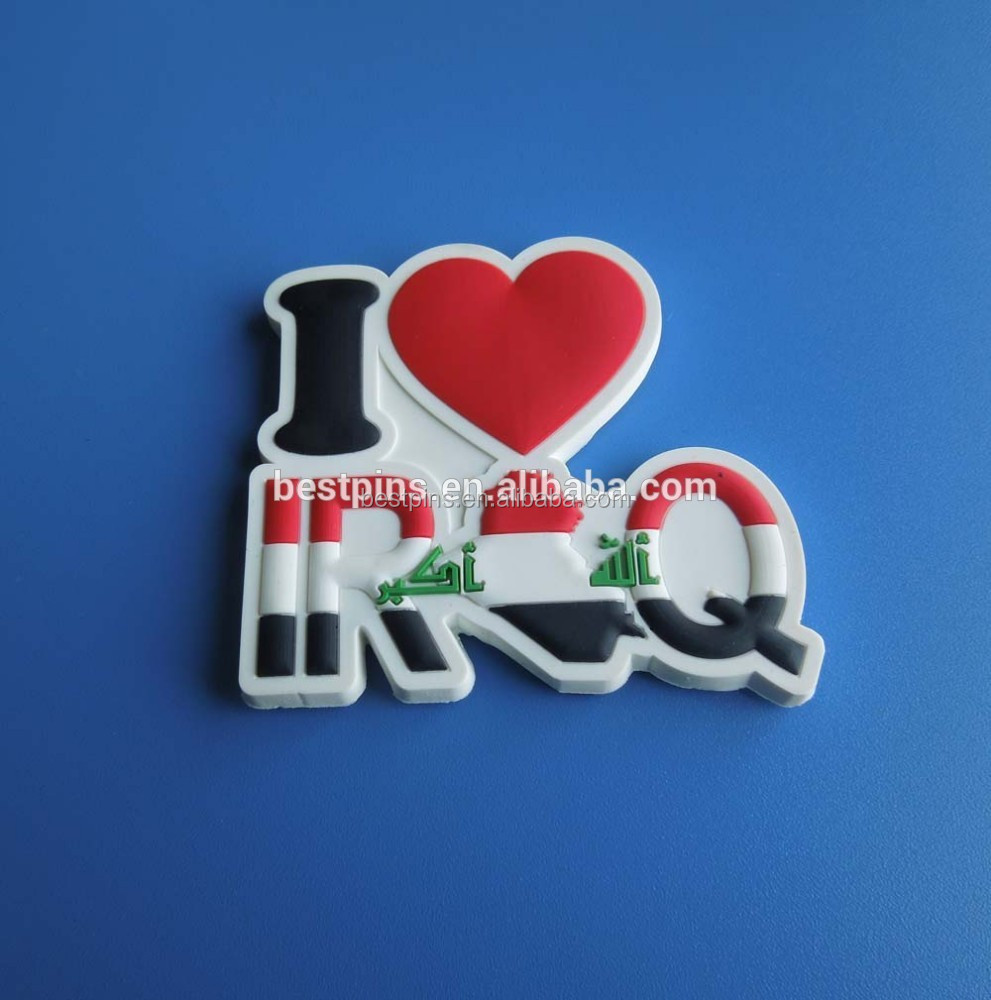I love Iraq fridge label with magnets, 3D heart Iraq magnetic rubber label souvenirs