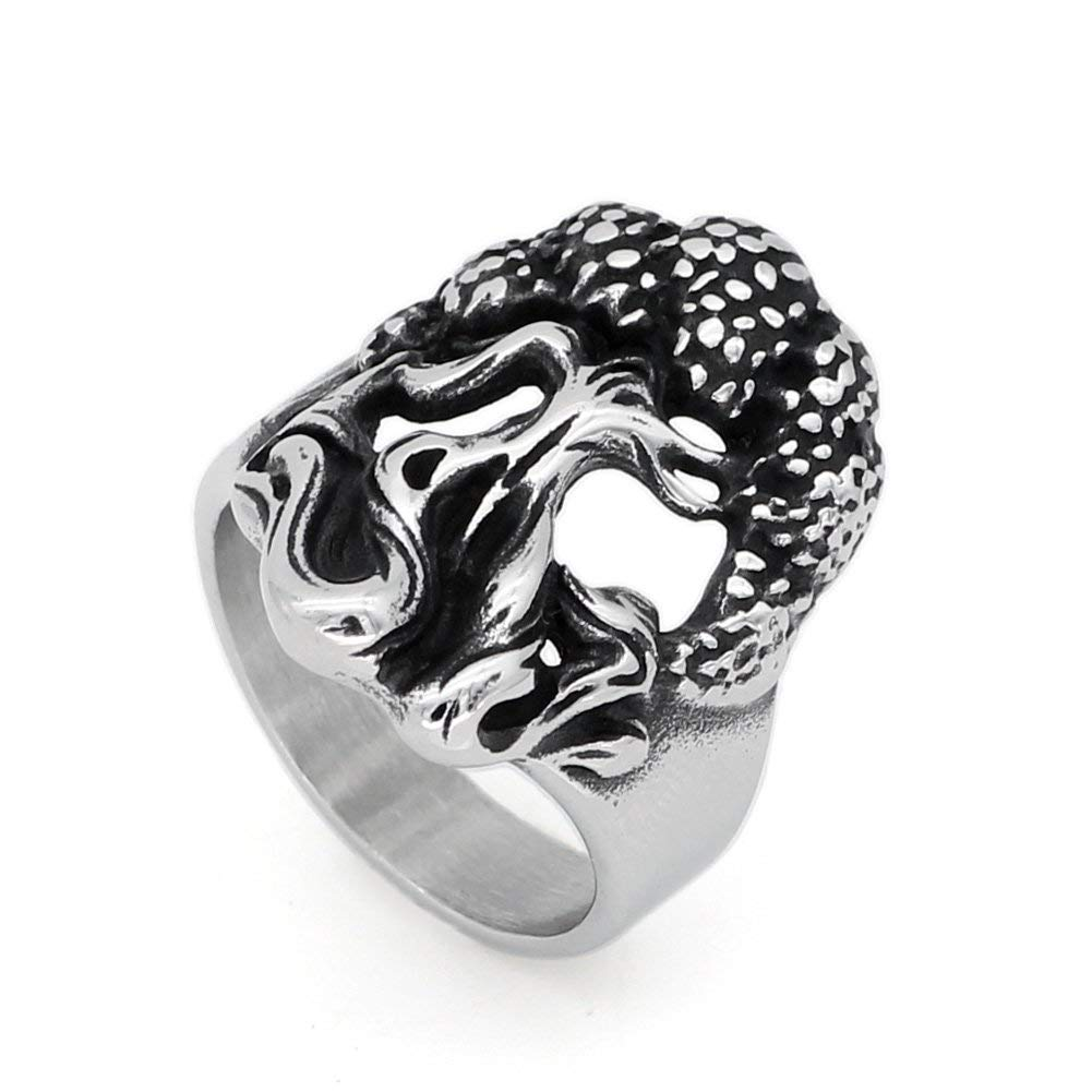 GuoShuang men stainless steel norse viking Yggdrasil Tree of Life amulet ring viking jewelry