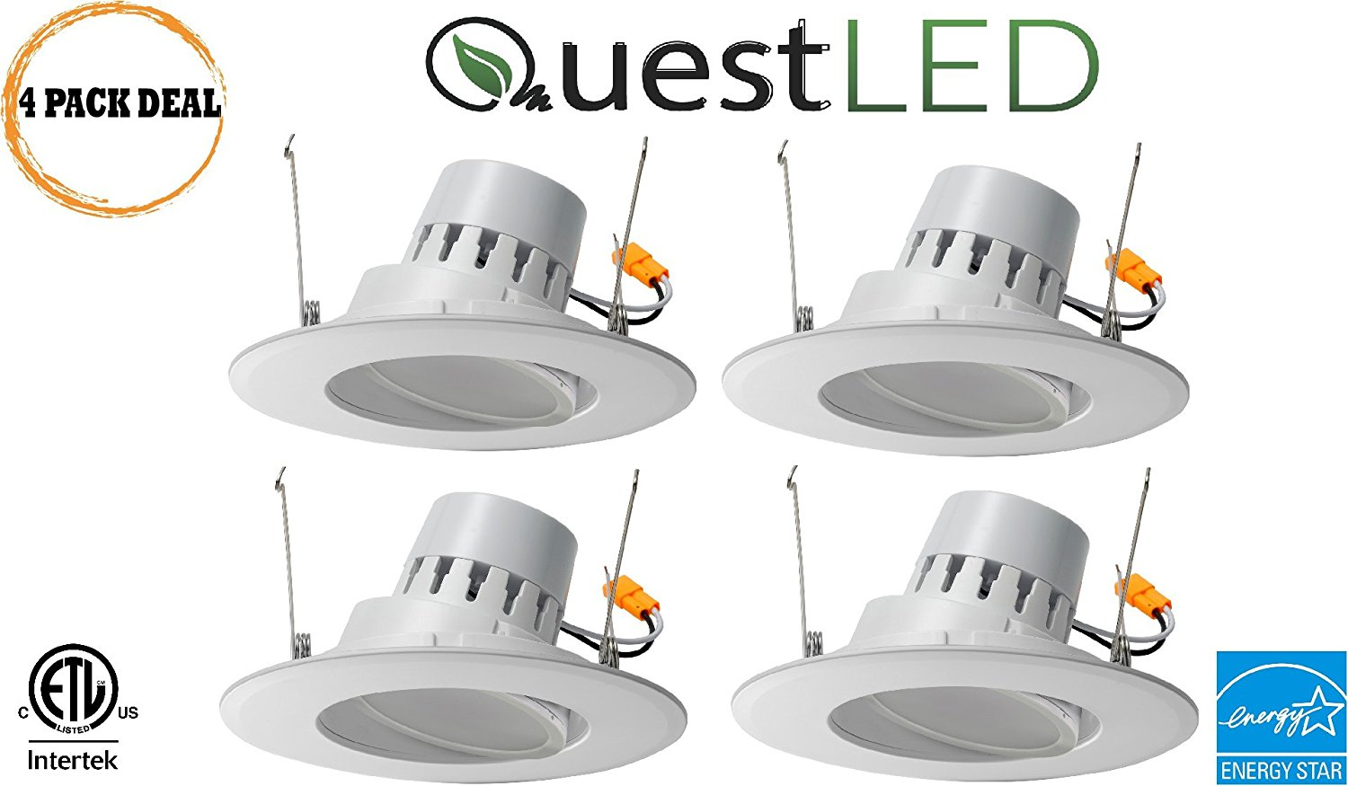 "LED 5/6"" Inch Adjustable Rotating Downlight 16.5W= (100w Equivalent) 1200 Lumens; 120V Flood; CRI >90; Damp Location; 5 Yr Warranty; Energy Star; Cool White 4000K- (4 Pack)"