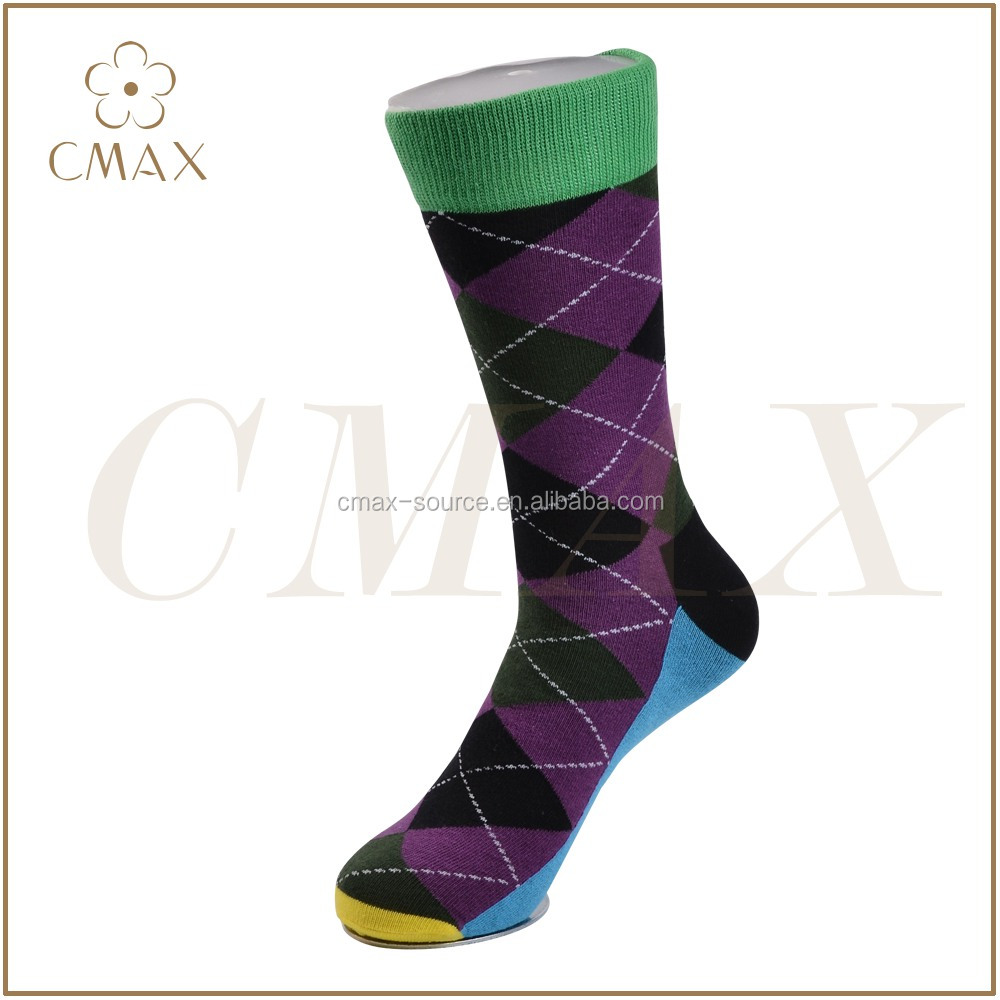 Hot selling men argyle design socks,men colourful happy dress socks